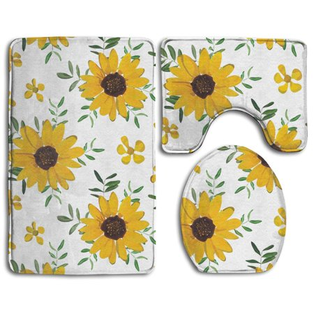 Chaplle Vintage Yellow Sunflower 3 Piece Bathroom Rugs Set
