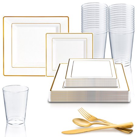 Dimmer Package - Kaya Collection - Square White and Gold Disposable Plastic Dinnerware Party Package - 20 Person Package - Includes Dinner Plates, Salad/Dessert Plates, Gold Cutlery and Tumblers