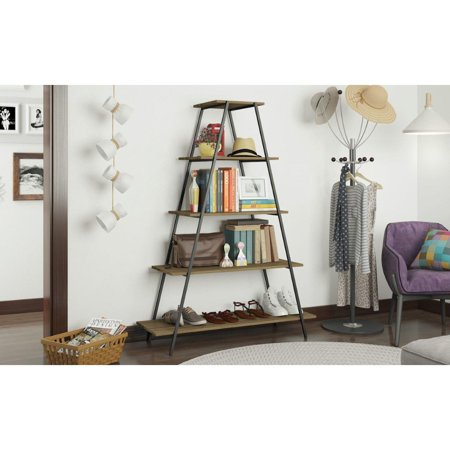 - Ellis Pyramid Bookcase with 5 Shelves in Dark Oak and Black