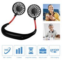 Hand Free Personal Fan Portable USB Battery Rechargeable Mini Fan Neckband Fans Adjustment Desktop Wearable Cooler Fans for Traveling Camping BBQ Gym Outdoor Office with A Rubber (Black)