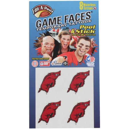Arkansas Razorbacks 8-Pack Waterless Face Tattoos - No - Razorback Tattoos
