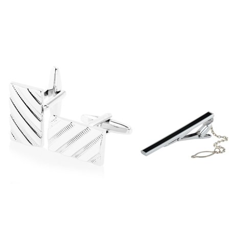 (Cufflinks and Tie Clip set for men by Zodaca Stainless Steel Cuff Links Silver Twill Pattern + Black Tie Clip (gift for dad))