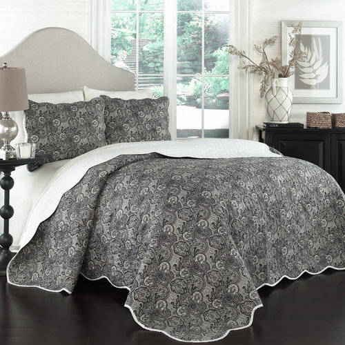 Traditions by Waverly Paddock Shawl Onyx 3-Piece Quilt Collection