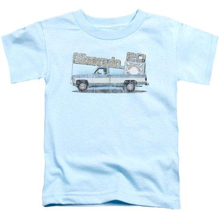 Chevy Boys' Old Silverado Sketch Childrens T-shirt Light Blue