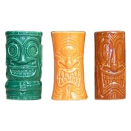 Tiki Shot Glasses 2 Oz. Comes With Green, Orange, And - Orange Shot Glasses