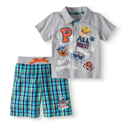 Paw Patrol Polo Shirt & French Terry Shorts, 2pc Outfit Set (Toddler Boys)](Paw Patrol Clothes)