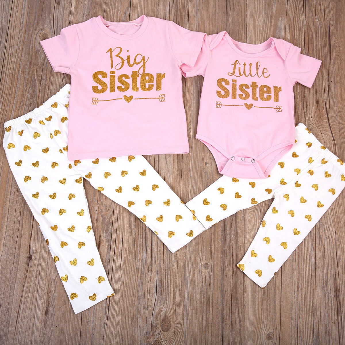 Newborn Baby Little Sister Romper Big Sister T-shirt+Long Pants Clothes Outfits