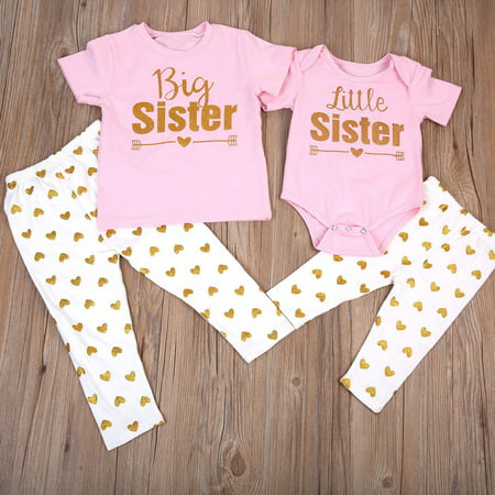 Newborn Baby Little Sister Romper Big Sister T-shirt+Long Pants Clothes Outfits (Desmond Miles Outfit)