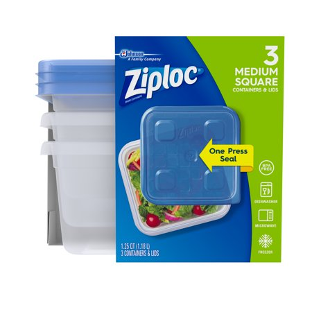 Polyethylene Food Box - (3 pack) Ziploc Container with One Press Seal, Medium Square, 3 count