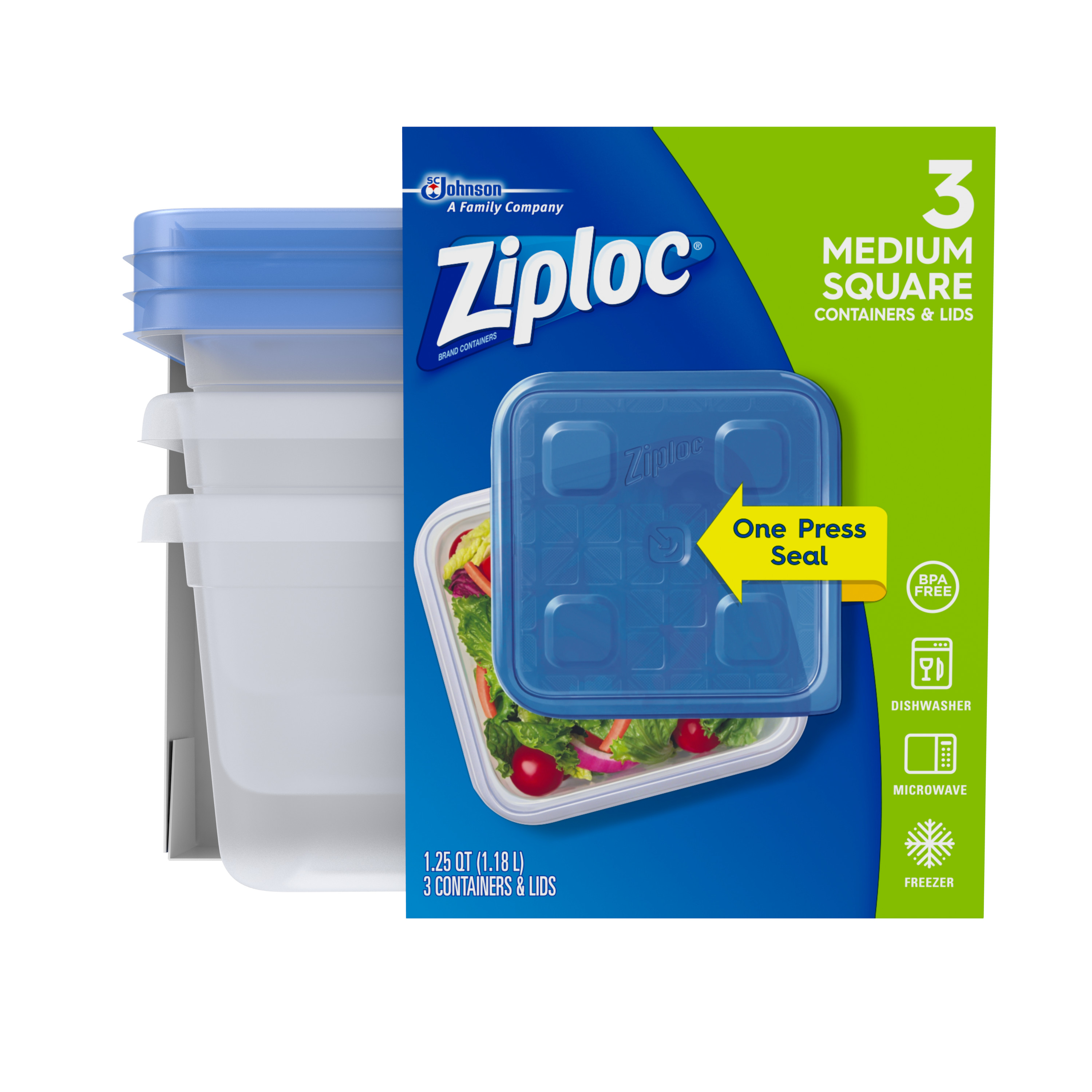 Ziploc Container with One Press Seal, Medium Square, 3 count