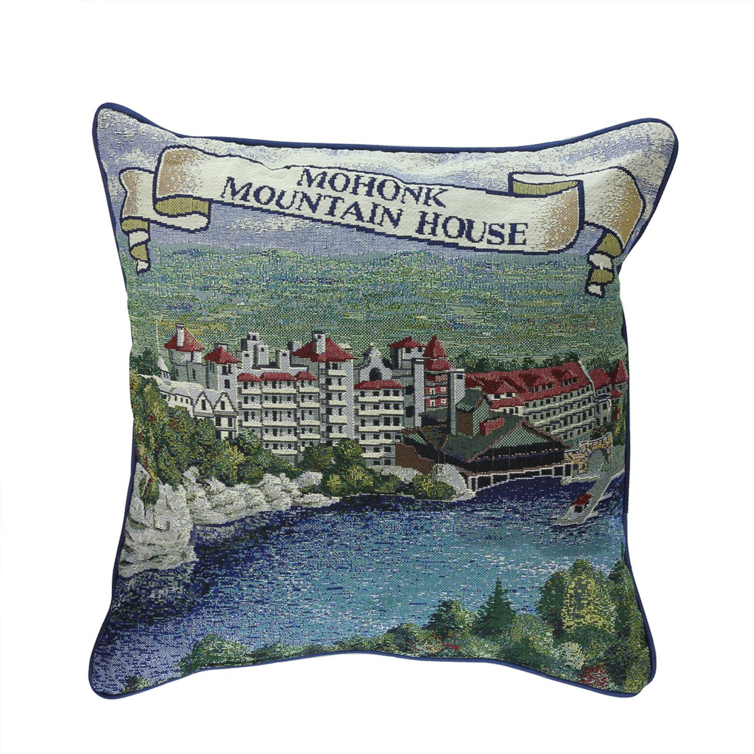 "17"" Hudson Valley Mohonk Mountain House décoratif Tapestry Throw Pillow"