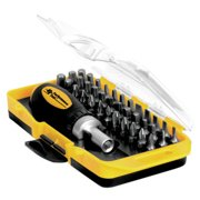 Performance Tool W9159 Ratcheting Screwdriver Set, 38 Piece, Stubby Driver with Phillips, Slotted, Hex and Torx Bits