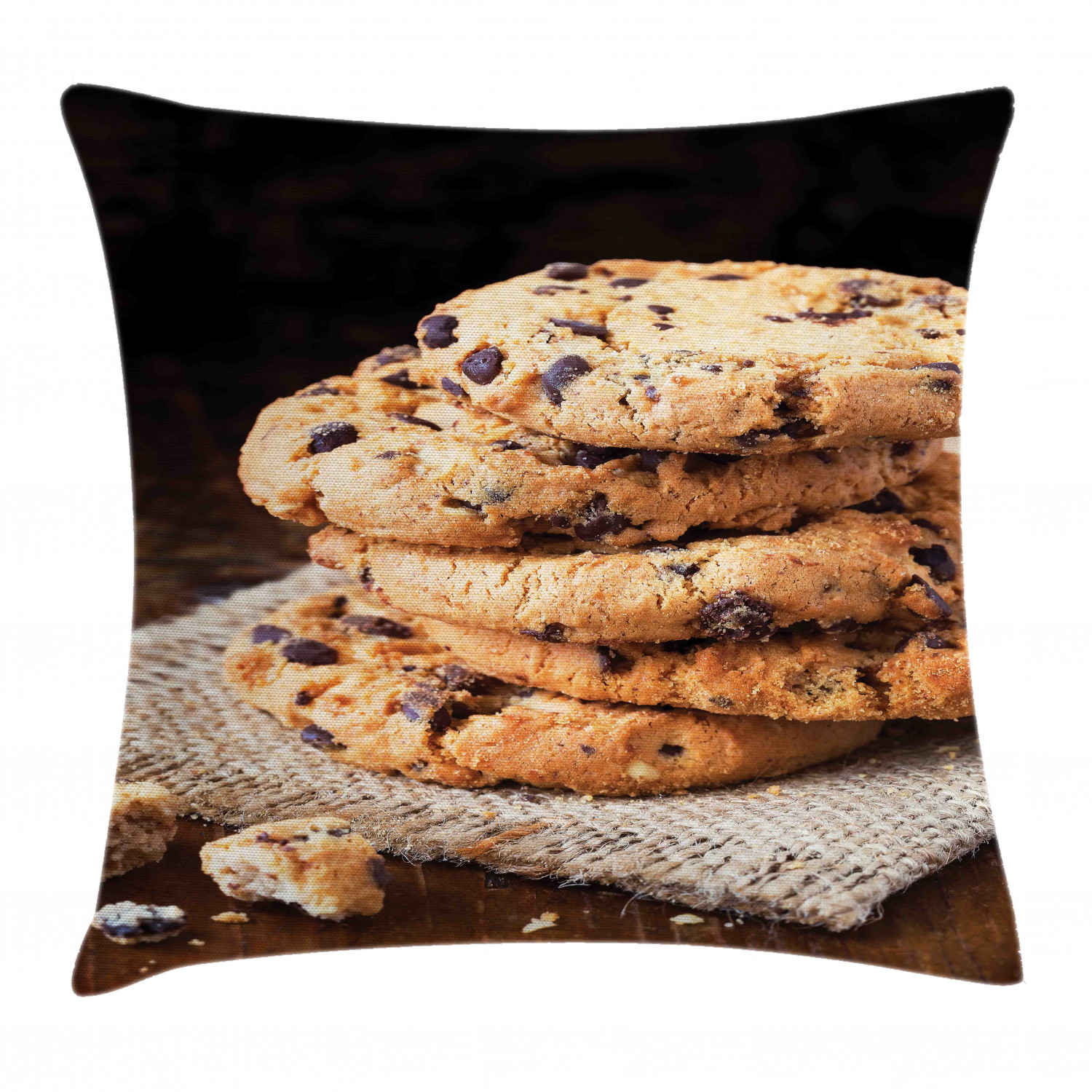 Cookie Throw Pillow Cushion Cover Stacks Of Delicious Bites On A Piece Of Cloth Wooden Table Close Up Photography Decorative Square Accent Pillow Case 20 X 20 Multicolor By Ambesonne Walmart Com