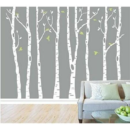 Tayyakoushi White Tree Wall Decal Vinyl Large Birch Tree Sticker for Living Room Decorative Nursery Home decor