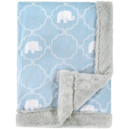 Hudson Baby Boy and Girl Plush Blanket with Furry Binding