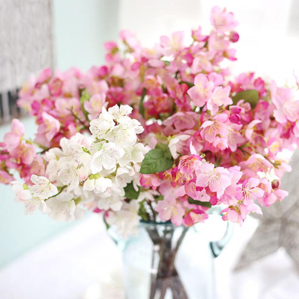 Heepo 1 Bouquet Wedding Cafe Shop Bridal Fake Artificial Cherry Blossom Flower Decor