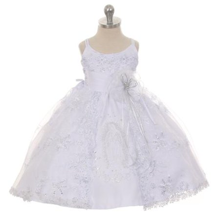 Rain Kids Little Girls White Embroidered Organza Cape Bows Baptism Dress 4