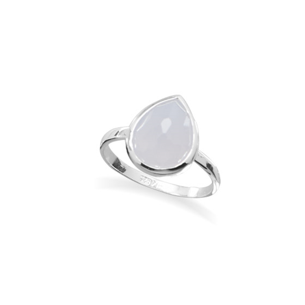 Synthetic Blue Chalcedony Stackable Ring Teardrop Sterling Silver by unknown