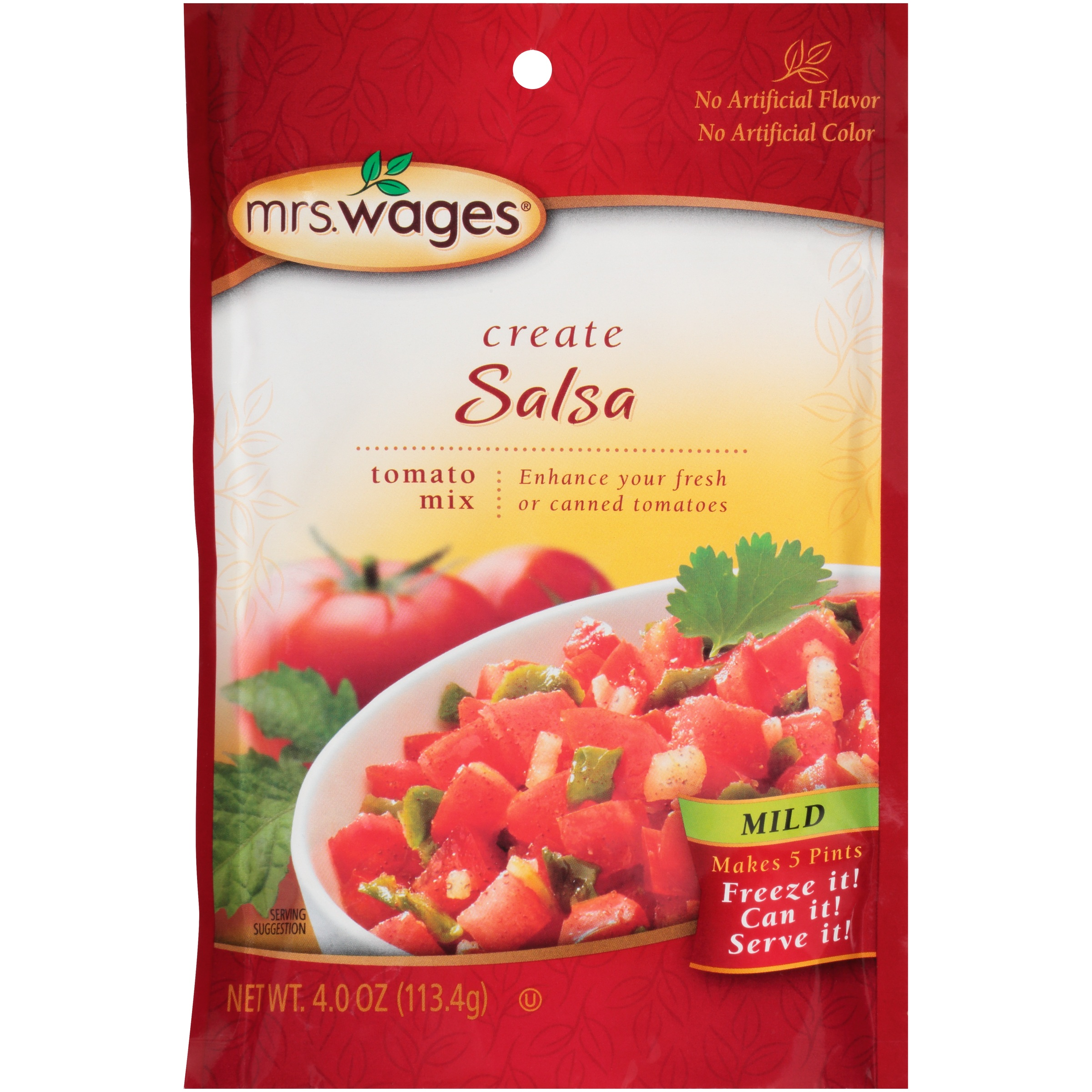 Mrs. Wages Create Mild Salsa Tomato Mix 4.0 oz. Pouch by Kent Precision Foods Group, Inc.