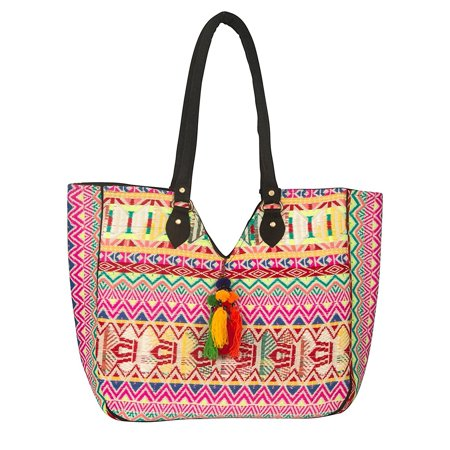Tribe Azure Women Large Woven Shoulder Hand Bag Purse Tote Red Beach Picnic Casual School Laptop - Woven Drawstring Handbag