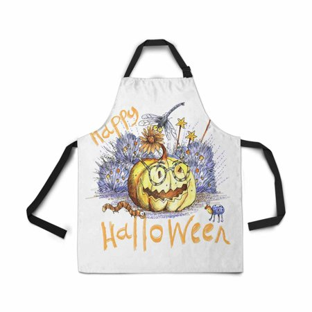ASHLEIGH Adjustable Bib Apron for Women Men Girls Chef with Pockets Happy Halloween Pumpkin Flower Dragonfly Watercolor Novelty Kitchen Apron for Cooking Baking Gardening Pet Grooming Cleaning](Cooking Your Halloween Pumpkin)