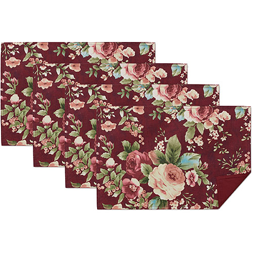 Mainstays Rose Placemats, Set of 4