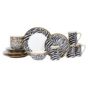 222 Fifth Serengeti Zebra With Electropated Gold 16 Piece Dinnerware Set