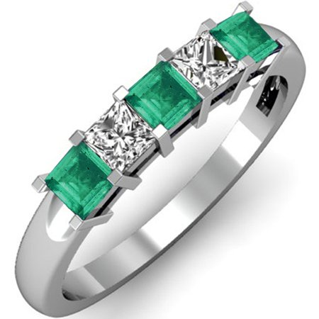 0.75 Carat (ctw) 18K White Gold Princess Cut Green Emerald and White Diamond Ladies 5 Stone Bridal Wedding Band Annivers