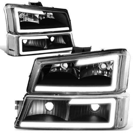 For 2003 to 2007 Chevy Silverado 1500 2500 3500HD Classic Avalanche Pair 3D LED DRL Bar Headlight + Bumper Lamps Black 04 05 06 Chevy 1500 2500 Truck Headlight