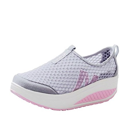 09c60a93f6ce Women's Girls Mesh Lightweight Breathable Casual Sneakers Thick Bottom  Platform Wedges Shoes for Sports Running Hiking (Gray, US
