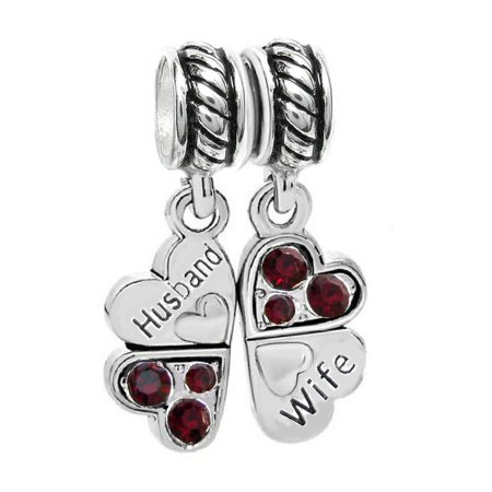 Sterling Silver Rhinestone 'Husband Wife Love' Heart European Bead Charm Fits Pandora ()