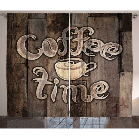 Modern Curtains 2 Panels Set, Coffee Time Phrase with a Cup on a Wooden Grunge Background Kitchen Image, Window Drapes for Living Room Bedroom, 108W X 96L Inches, Umber Cream Cocoa, by Ambesonne