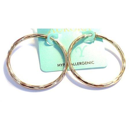 Clip Hoop Earrings 2 inch Gold Tone Swirl Hoop Hypoallergenic