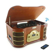 PYLE PTCD54UB - Bluetooth Vintage Classic-Style Turntable Speaker System with CD & Cassette Players, Vinyl-to-MP3 Recording, MP3/USB Reader, AM/FM Radio