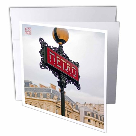 3dRose Classic and popular Metro Sign, entrance to city subway, Paris, France, Greeting Card, 6 x 6 inches, - Card And Party City