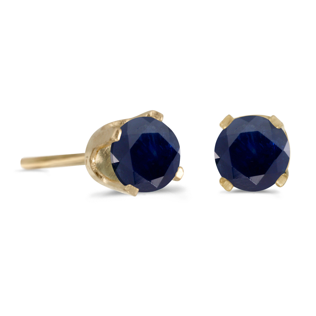 14k Yellow Gold 4 mm Round Sapphire Stud Earrings