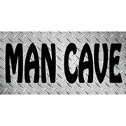 Man Cave Diamond Plate Photo License Plate