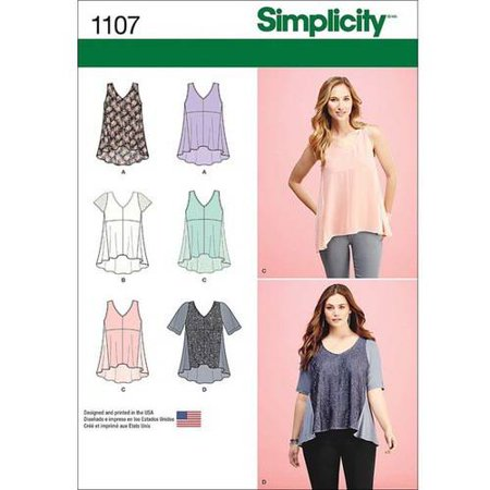 Simplicity Misses' Size XXS-XXL Top with Fabric Variations Pattern, 1 Each