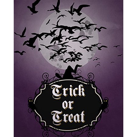 Trick Or Treat Print Witches Hat Bats Flying Moon Purple Night Background Picture Halloween Decoration Wall Hanging Seasonal Poster