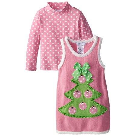 Little Girls 2T-6X 2-Piece Christmas Tree Applique Sweater Jumper Dress, 3T - Christmas Tree Jumper