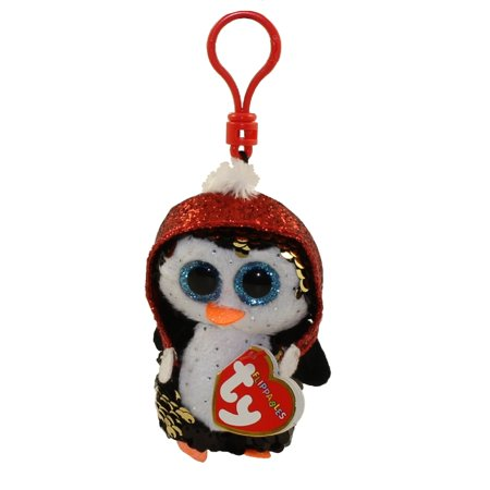 TY Flippables Sequin Plush - GALE the Penguin with Christmas Hat (Plastic Key Clip - 3.5 inch)