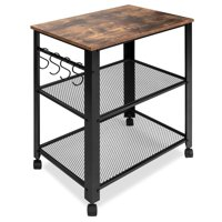 Best Choice Products 3-Tier Rustic Industrial Rolling Utility Serving Cart Organizer w/ 2 Storage Shelves, 4 Hooks