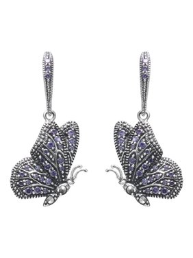 75546c42d Product Image MARC Sterling Silver Amethyst CZ & Swarovski Marcasite Butterfly  Earrings