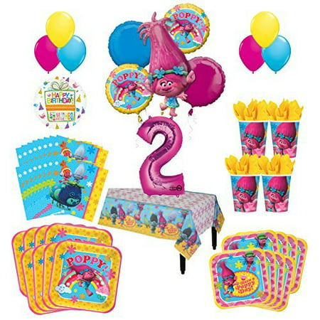 Trolls Poppy 2nd Birthday Party Supplies 16 Guest Kit and Balloon Bouquet Decorations 95 pc (Usa Party Supplies)