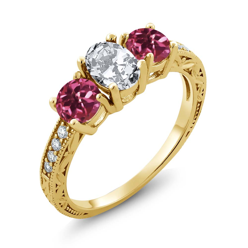 2.62 Ct Oval White Zirconia Pink Tourmaline AA 18K Yellow Gold Ring by
