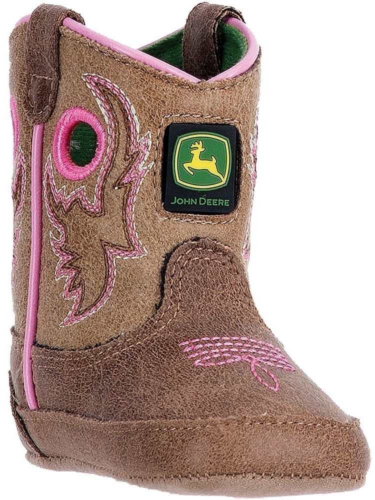 John Deere Girls Light Brown Pink Stitch Pull-On Crib Boots by John Deere