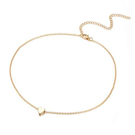 Small Heart Necklace Choker Pendant Slider Dainty Gold Silver Delicate Simple (Gold) ()