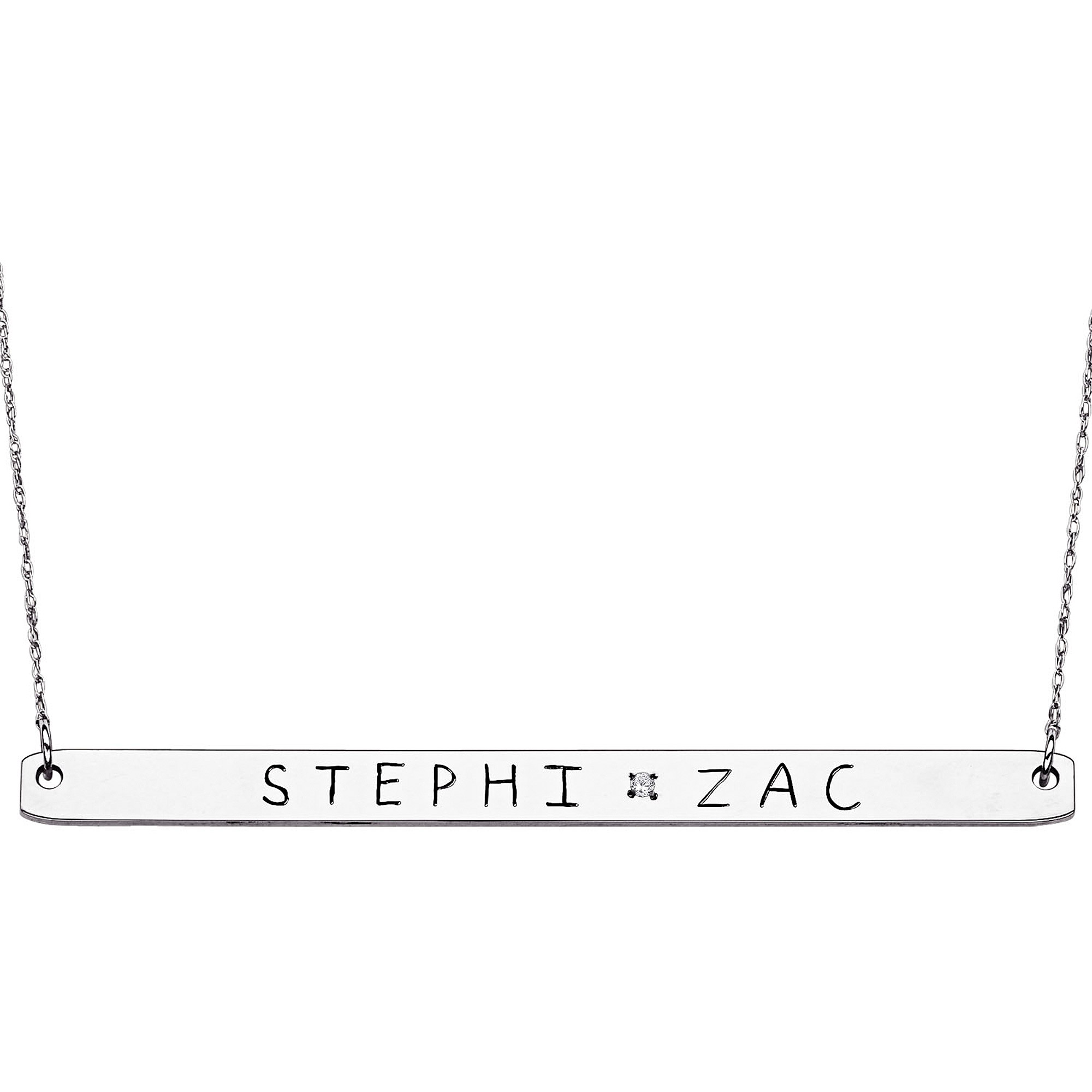 Personalized Sterling Silver Couples Name & Diamond Accent Bar Necklace