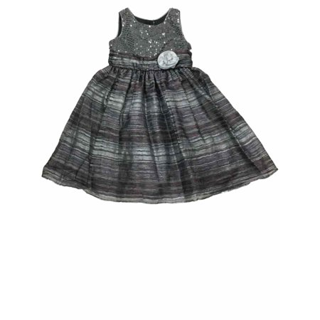 Big Girls Gray Metallic Heathered & Sequin Holiday Party Flower Girl Dress