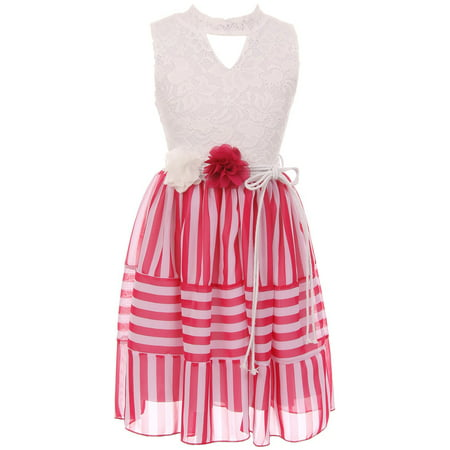 13f42a2ea BNY Corner - Big Girl Sleeveless Foral Lace Chiffon Birthday Flower ...